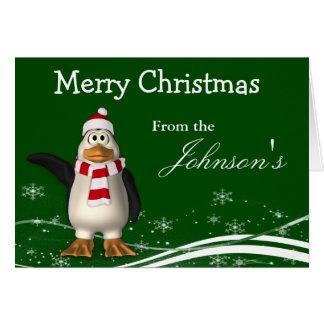 Carte Salutation de Noël de pingouin du père noël de