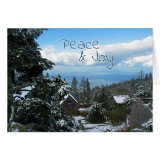 Carte Salutation de paix et de joie à partir de dessus