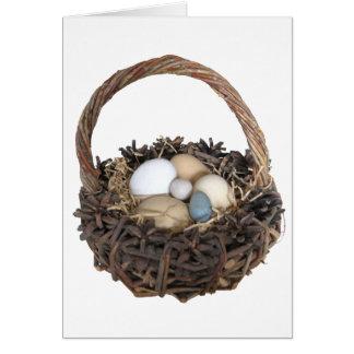 Carte Salutation de panier de Pâques de printemps