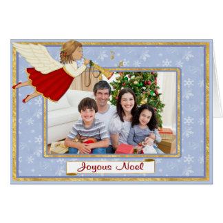 Carte Salutation de photo de Noel d'ange de trompette