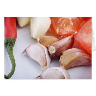 Carte Salutation de poivre d'ail et de piment