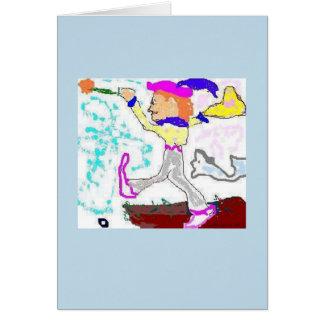 Carte Salutation d'imbécile de tarot (arrière - plan de