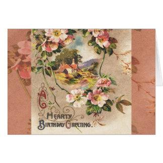 Carte Salutation florale victorienne chaleureuse de