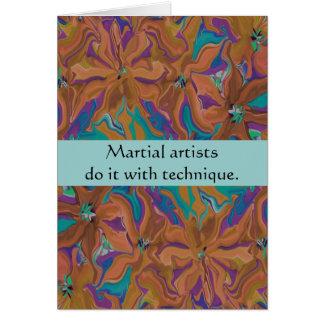 Carte salutation martiale de technique d'artistes