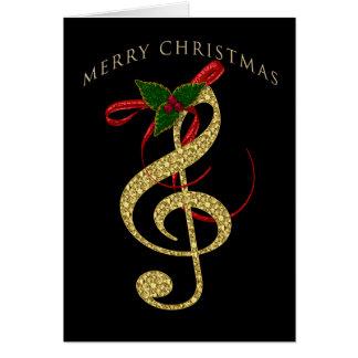 Carte Salutation musicale de Noël de G-Clef sur le noir