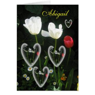 Carte Salutation nommée de tulipe de filles