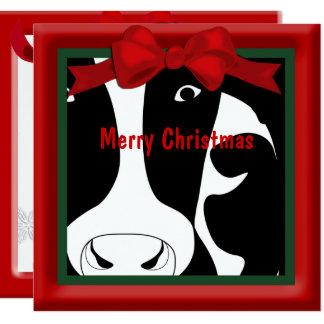 Carte Salutation plate de vache à Joyeux Noël