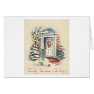 Carte Salutations chaleureuses de Noël de Noël vintage