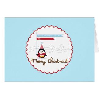 Carte Salutations de Joyeux Noël {pingouin}