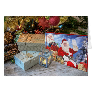 Carte Salutations de Noël de Père Noël et de ses furets
