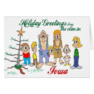 Carte Salutations de vacances d'Iowa