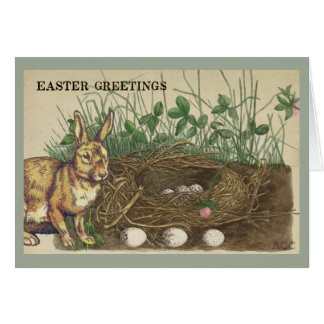Carte Salutations lapin, oeufs, nid, herbe, trèfle de