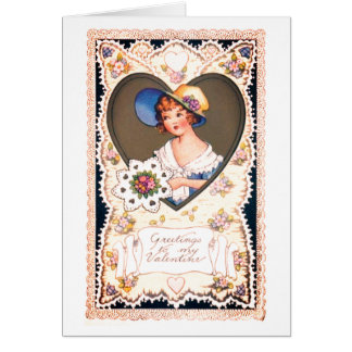 Carte Salutations vintages de Valentine de restauration