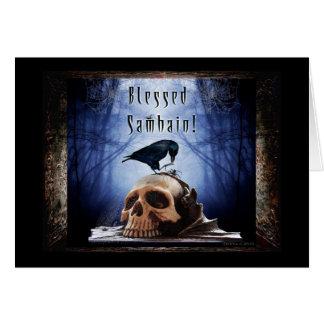 Carte Samhain béni - Raven sur le crâne