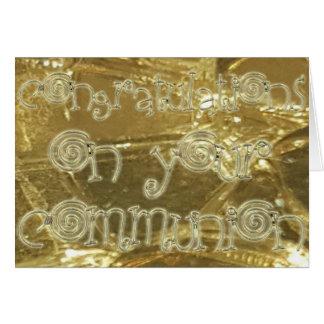 Carte Scintillement d'or de typographie de communion de