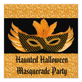 Carte Scintillement orange de mascarade de Halloween