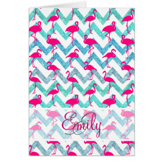 Carte Scintillement turquoise Chevron de flamants au