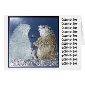 Carte Sculpture en glace de jour de Groundhog