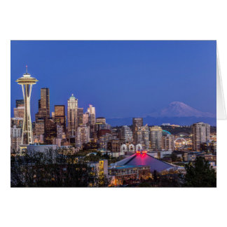 Carte Seattle, le centre ville et mont Rainier au