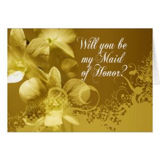 Carte Serez-vous ma domestique d'honneur ? Orchidées et