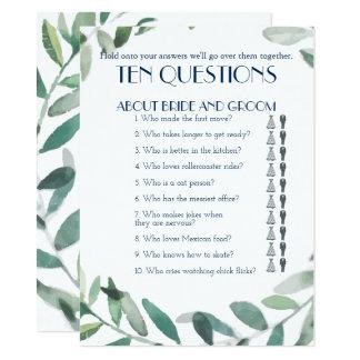 Carte Ses et ses Dix questions épousant le jeu