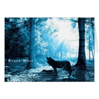 Carte Seul loup noir dans la forêt