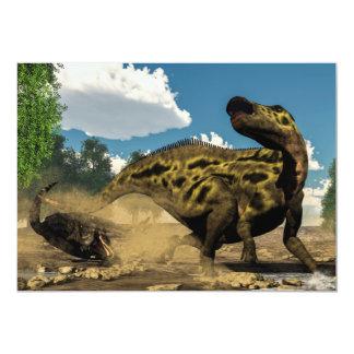 Carte Shantungosaurus défendant du tarbosaurus