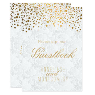 Carte Signe de livre d'invité - confettis élégants d'or