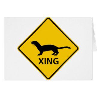 Carte Signe de route de croisement de belette/furet