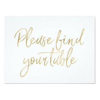 """Carte """"Signe élégant d'or veuillez trouver votre table"""""""