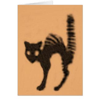 Carte Silhouette orange de chat noir
