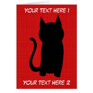 Carte Silhouette se reposante de chat noir