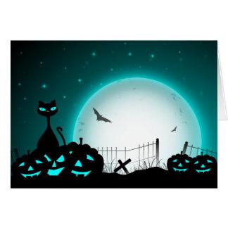 Carte Silhouettes de chat noir et de citrouille de