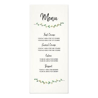 Carte simple de menu de mariage de verdure