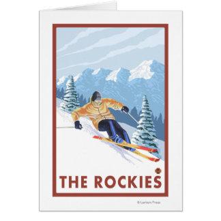 Carte Skieur de neige de Downhhill - les Rocheuses