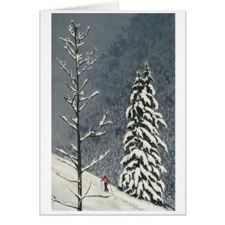 Carte Skieur sur le flanc de coteau neigeux