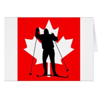 Carte Skieur transnational de drapeau canadien