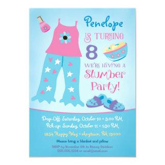 Carte Sleepover de pyjama d'invitation d'anniversaire de