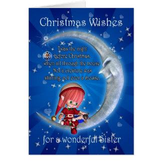 Carte Soeur, nuit avant Noël avec l'elfe