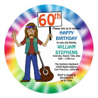 Carte Soixantième fête d'anniversaire de vieux de hippie