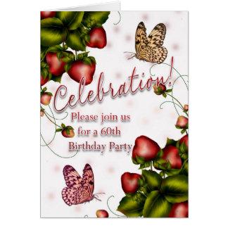 Carte soixantième Fête d'anniversaire - papillon et