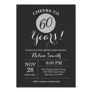 Carte soixantième Noir d'invitation d'anniversaire et