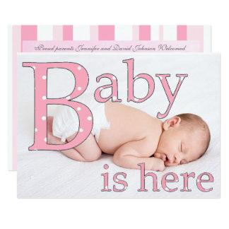 Carte Son une fille, bébé est ici, des annonces de