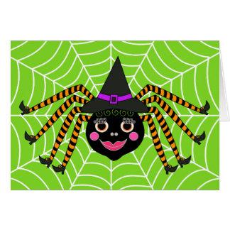 Carte Sorcière Halloween d'araignée