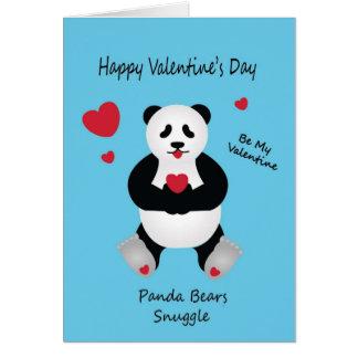 Carte Souhait de la Saint-Valentin de l'ours panda pour