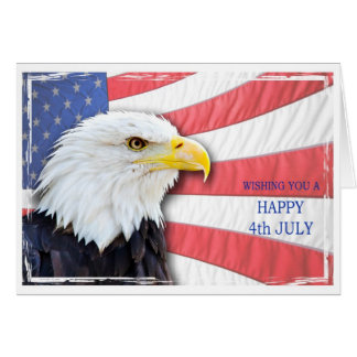 Carte Souhaite 4 juillet avec un aigle chauve et le