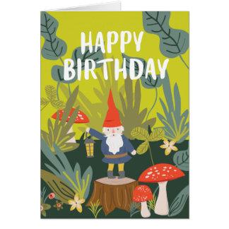 Carte Souhaits d'anniversaire de gnome de région boisée