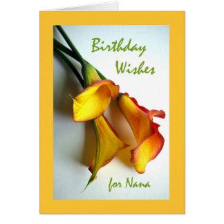 Carte Souhaits d'anniversaire pour Nana, zantedeschias