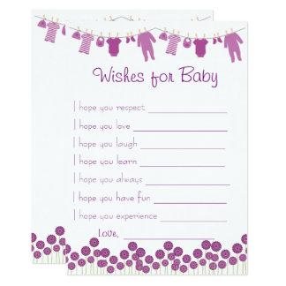 Carte Souhaits de baby shower d'aubergine pour le jeu de