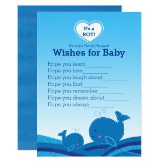 Carte Souhaits de baleines bleues pour le jeu de baby